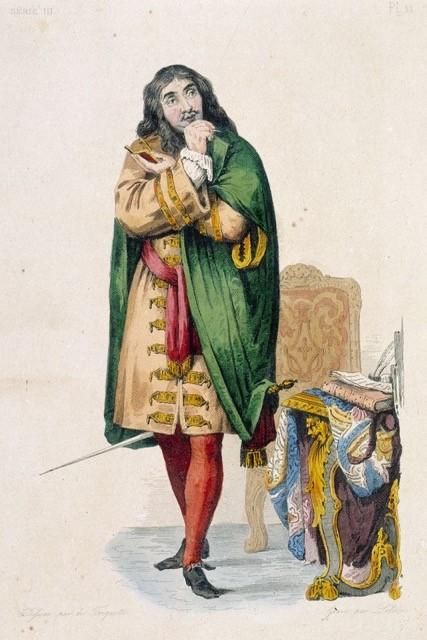Molière portant du vert sur scène