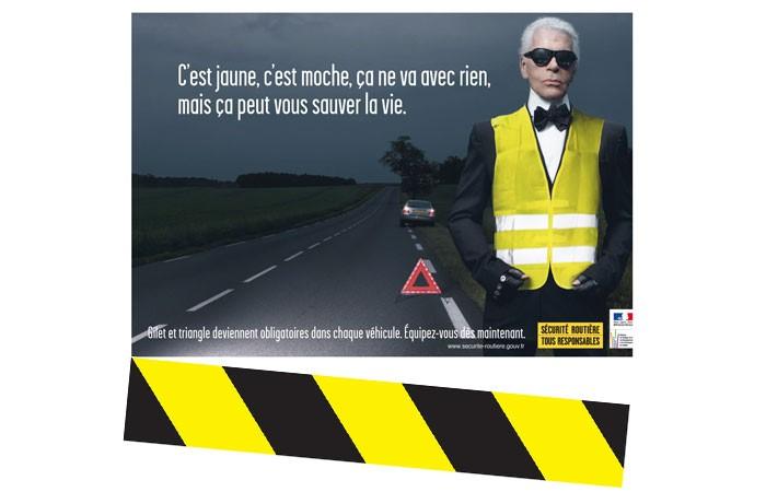 Karl Lagerfefd en gilet jaune